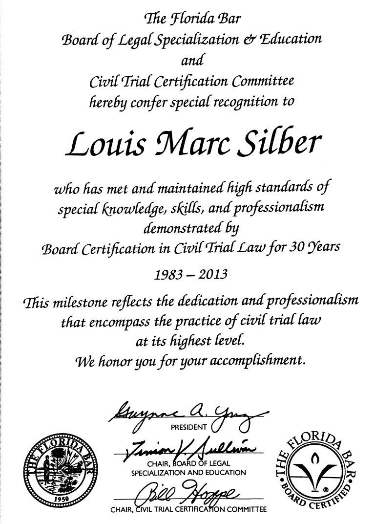 Louis silber recognized by the florida bar for being board louis silber recognized by the florida bar for being board certified for 30 years silber davis 1betcityfo Images
